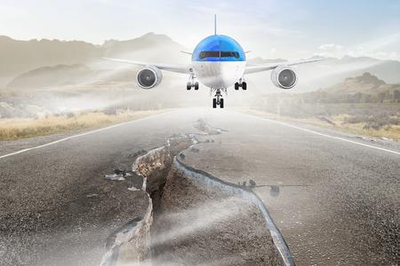 Emergency airplane landing. Mixed media Stock Photo