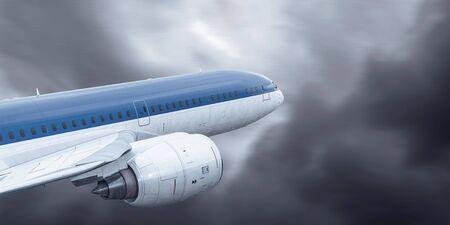 Airliner in sky. Mixed media 版權商用圖片