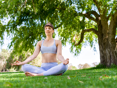 Young woman practicing yoga in the park Banque d'images