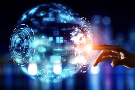 net: Creating innovative technologies . Mixed media Stock Photo
