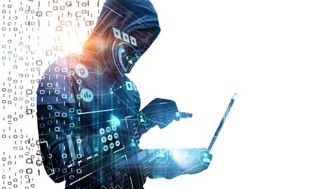Człowiek hakerów kradnie informacje