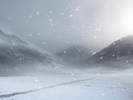 カザフスタンの山の中の道