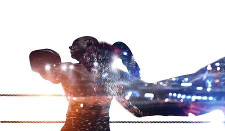 Silhouette of boxer man on white background. Mixed media