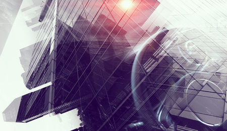 Double exposure of elegant car and modern cityscape Standard-Bild