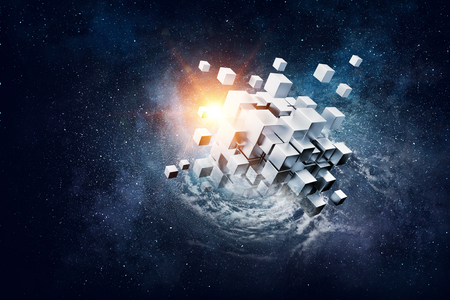 High tech cube figure on space background. 3d rendering