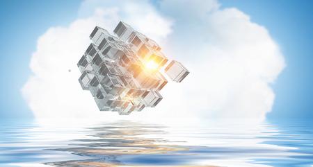 Cube figure reflecting in sea waves. 3d rendering