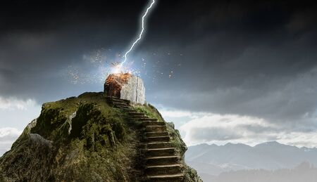 Stone staircase outdoor and lightning striking on top. Mixed media