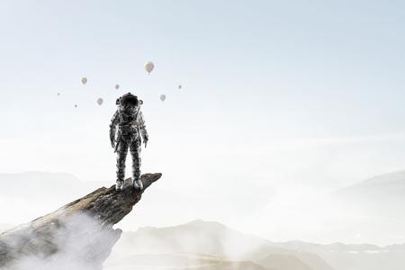 Space explorer in astronaut suit. Mixed media