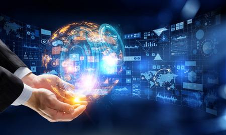 Presenting new technologies. Mixed media Standard-Bild