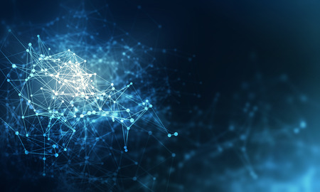 Abstract blue background with connection lines and dots. 3d rendering