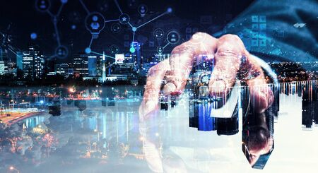 Close up view businessman hand using computer mouse and networking concept Stock Photo