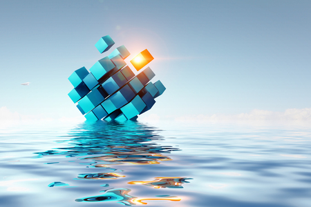 Cube figure reflecting in sea waves. 3d rendering