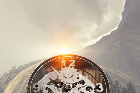 Old clock mehanism of gears and cogwheels. Mixed media Stock Photo