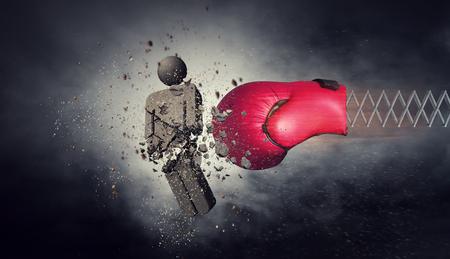 春速報コンクリート図の赤いボクシング グローブ。ミクスト メディア 写真素材