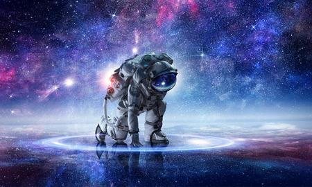 Astronaut starting to run. Mixed media