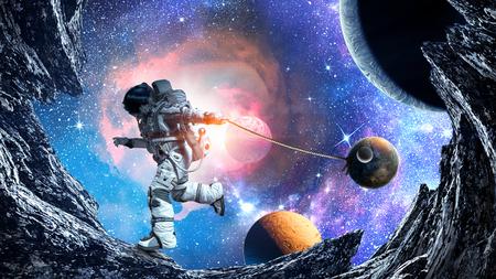 우주인 캐치 행성 판타지 이미지입니다. 혼합 매체