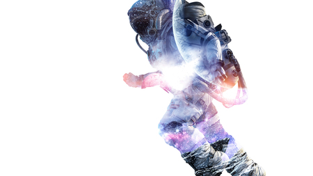 Double exposure of astronaut and space on white background. Mixed media Archivio Fotografico