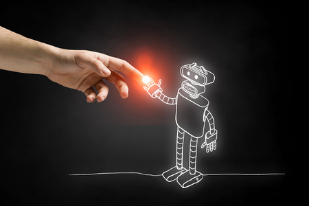 Human hand touching with finger robot sketched design Stock fotó - 91370206