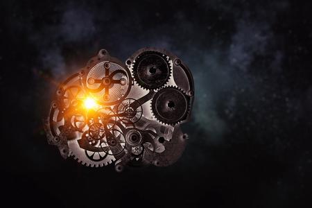 Gears and cogwheels mechanism floating in air. Mixed media Zdjęcie Seryjne