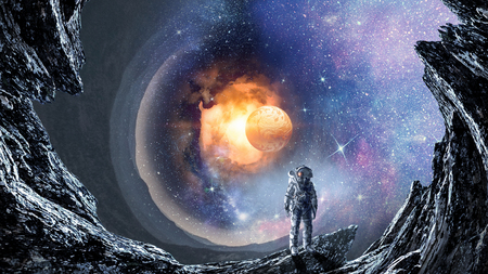 Fantasy image with astronaut in space hole. Elements of this image are furnished by NASA