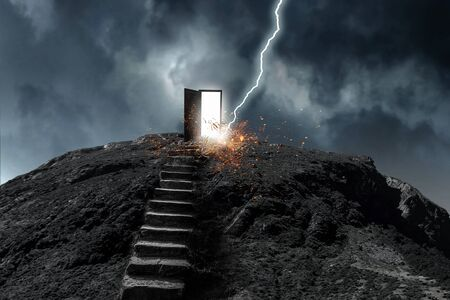 Stone stairway and door on top of it. Mixed media