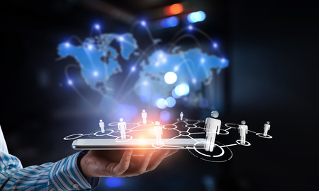 Connection business and communication technology. 3d rendering