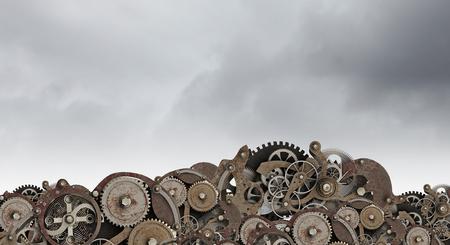 Set of metal industrial cogwheels and gears as one mechanism. Mixed media