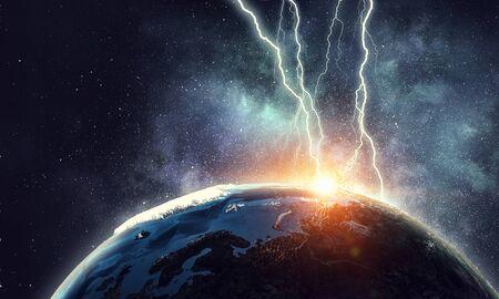 Dramatic apocalyptic background.