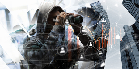 Unrecognizable man wearing hoody looking in to binoculars. 3d rendering