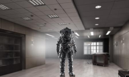 Spaceman wearing astronaut suit in interior. Mixed media