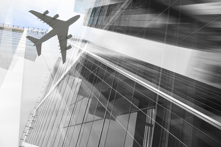 Double exposure of modern office buildings and airplane. Mixed media Stock Photo
