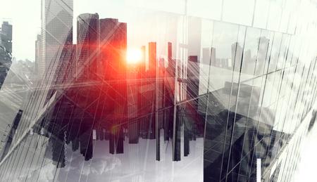 Dubbele explosie met zakelijke grafieken en district van de stad Megapolis. Gemengde media
