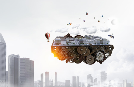 Mini exterior model floating in air. Mixed media