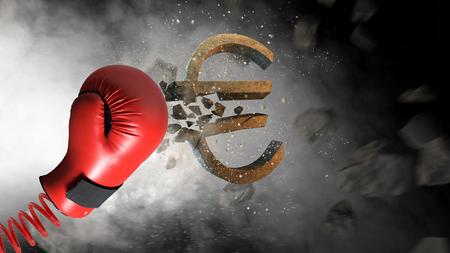 Rode bokshandschoen op de lente brekend concreet euro teken. Gemengde media