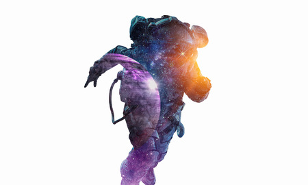 Double exposure of astronaut and space on white background. Mixed media Stock Photo