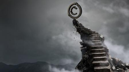階段の上の石の著作権シンボル。混合メディア 写真素材