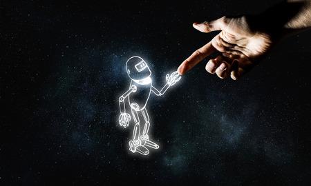 Menselijke hand aanraken met vinger robot geschetst ontwerp Stockfoto