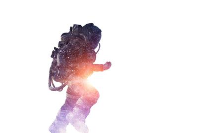 Dubbele blootstelling van astronaut en ruimte op witte achtergrond. Gemengde media Stockfoto