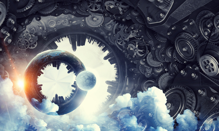 Conceptual image of construction and production with gears and cogwheels.