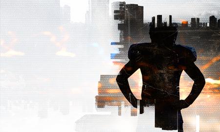 Silhueta do fundo da arquitectura da cidade do agaist do jogador de futebol americano. Mídia mista Foto de archivo - 91605349
