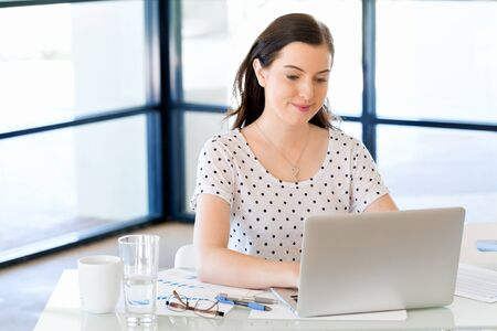 Portrait of businesswoman working at computer in office