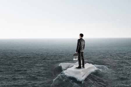 Surfing sea on ice floe. Mixed media Banco de Imagens