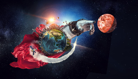 Close of astronaut robotic hand touching planet. Banque d'images