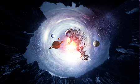 Fantasy image with astronaut in space hole. Imagens - 92487278