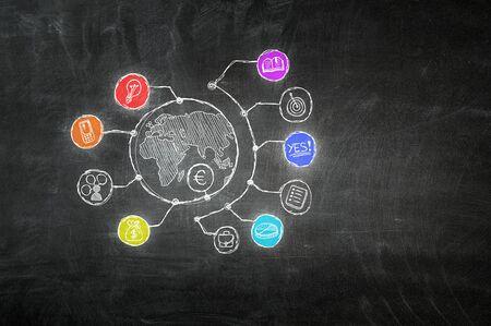 Plan de réussite d'entreprise dessinés à la main et stratégie