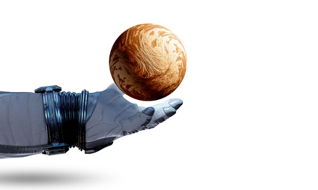Astronaut hand and Earth on white background. Elements of this image furnished by NASA Banque d'images