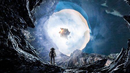 Image de fantaisie avec l'astronaute dans le trou de l'espace. Banque d'images