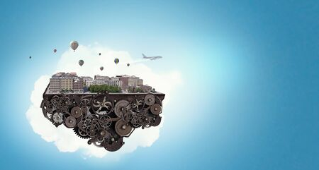 Cityscape island on gear mechanism floating in air. Mixed media
