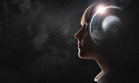 Profile image of kid girl with closed eyes. Elements of this image are furnished by NASA