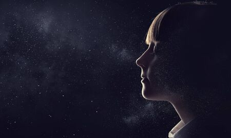 Profile image of kid girl with closed eyes